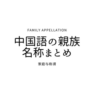 中国語の親族名称まとめ(家庭与称谓 )
